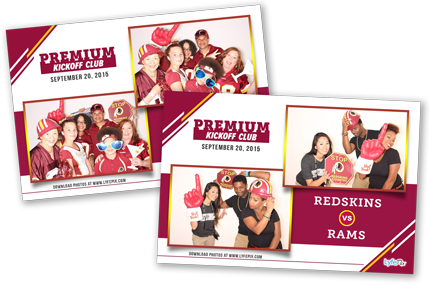 Photo booth pictures from the Redskins vs Rams game at FedEx Stadium in Maryland