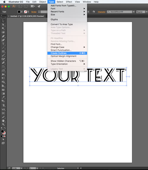 Use Create Outline function in Illustrator