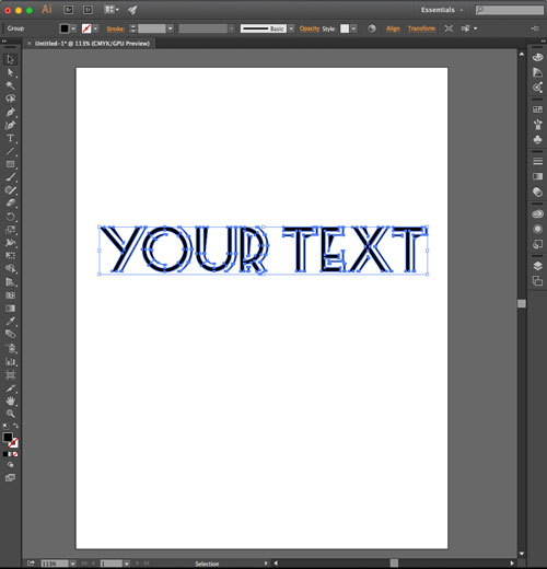 Create outline function completed in Illustrator
