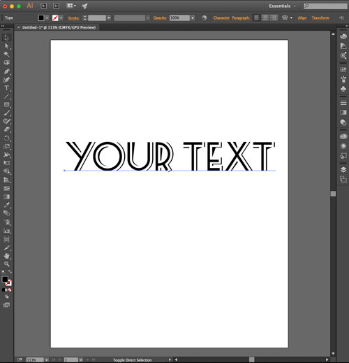 Type font in Illustrator